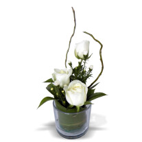 Three Rose Glass White